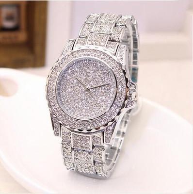 Upscale Full Diamond Fashion Female Watch luxurious Crystal Leisure Fashion quartz  Watch silver