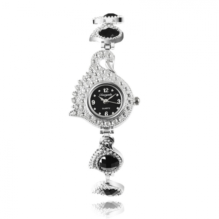 Ms Diamond Bracelet Watch Fashion Leisure Student Watch black