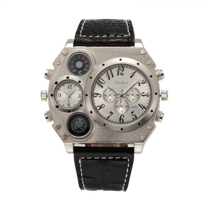 Men Big Dial Business High end Fashion Trend Quartz Watches Belt Watch white one size