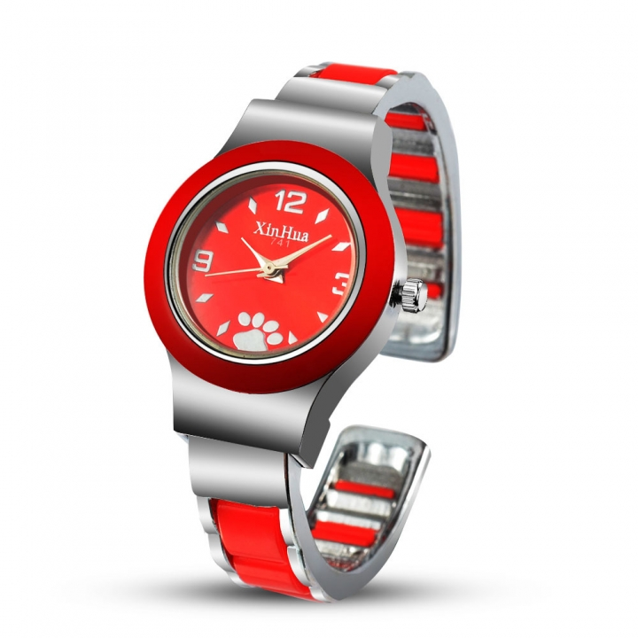 Ms Creative Alloy Bracelet Watch Small Dial Girls Fashion Leisure Quartz Watches red