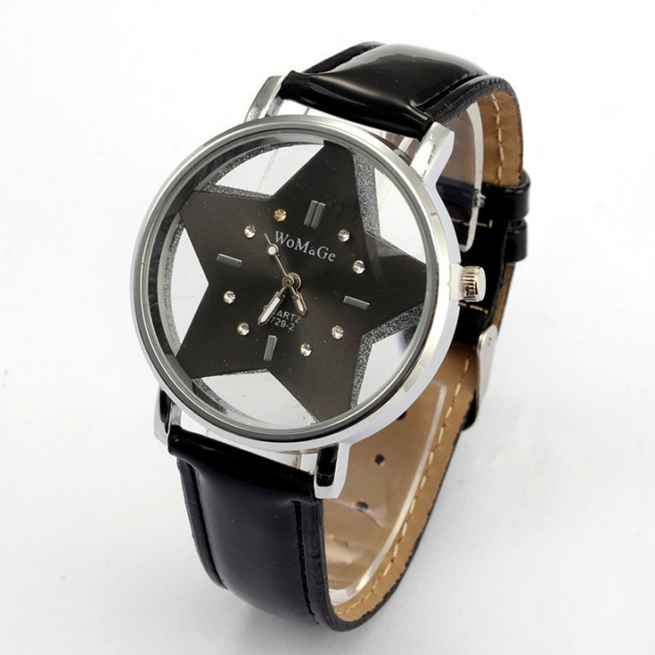 Ms Belt Watch Creative Five-pointed Star Student Upscale Gift Watch black