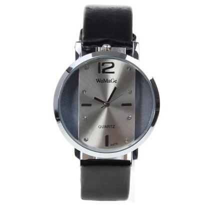 Ms Fashion Belt Watch Creative Hollow Quartz Simple Watch black