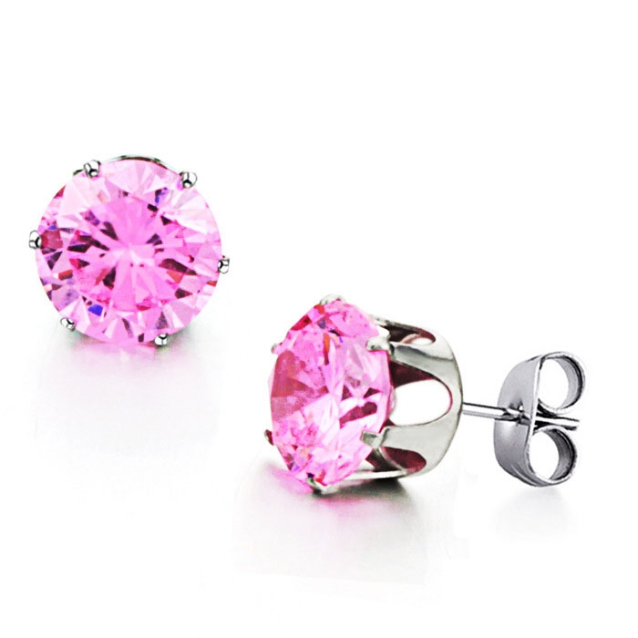 Trend Sweet Pink Rhinestones Crystal Fashion Titanium Steel Ms Earrings pink ms