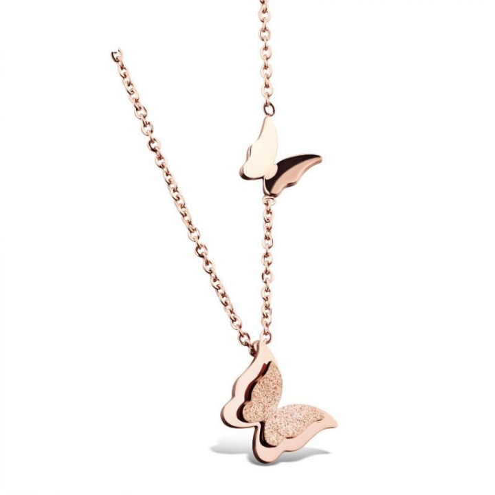Scrub Double Butterfly Necklace Rose Gold Clavicle Chain Ms Fashion Trend Pendant rose gold one size