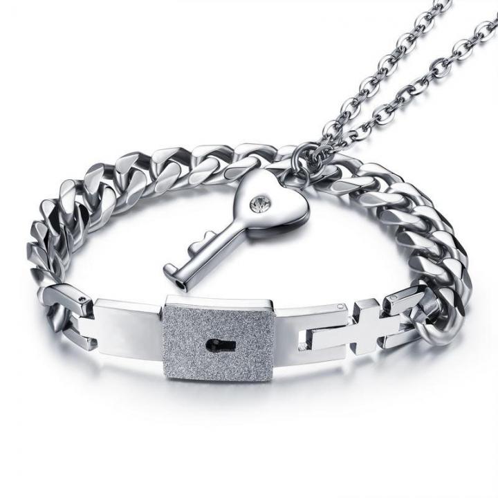 Valentine's Day Gift Concentric Lock Couple A Pair Bracelet Necklace Ms Key Men Bracelet silver a pair