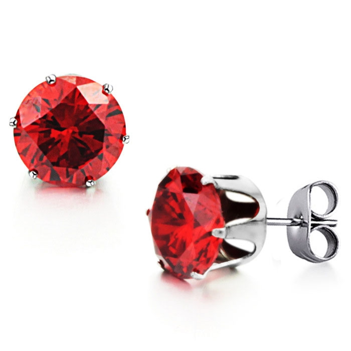 Fashion Red Crystal Drill Ms Trend Leisure Titanium Steel Crystal Earring red ms