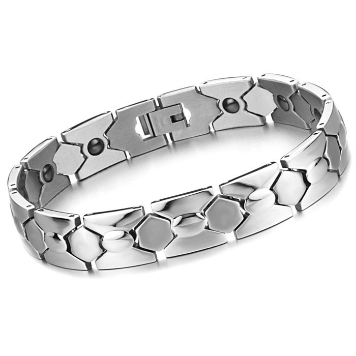 Fashion Health Care Magnet Titanium Steel Men Leisure Student Bracelet silver one size