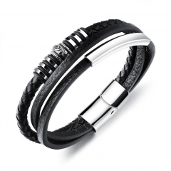 Western Style Men Fashion Leather Bracelet Titanium Steel Magnetic Buckle Simple Bracelet black one size