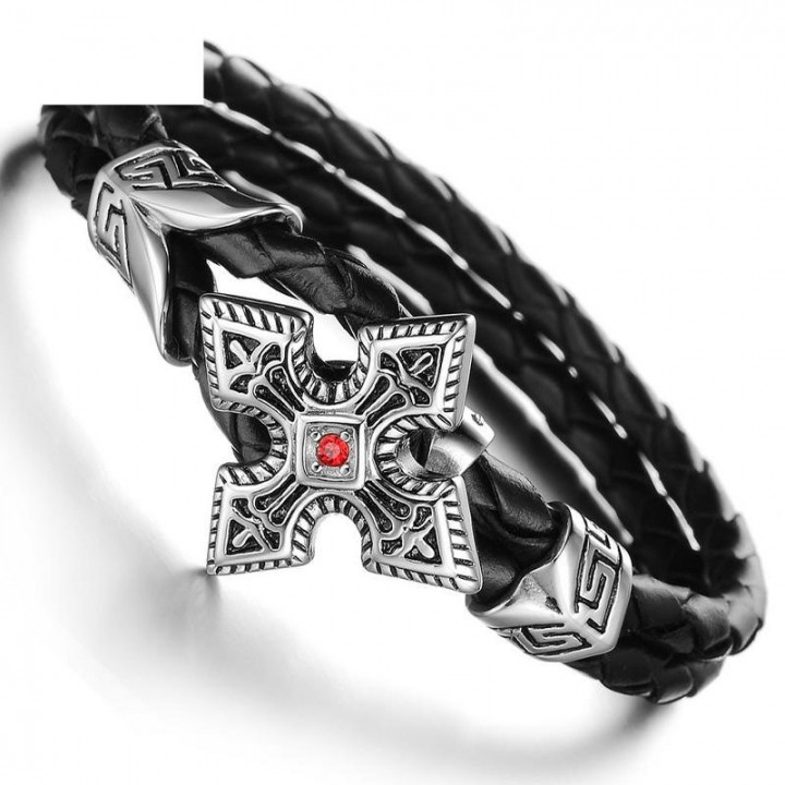 Western Style Trend Domineering Gift Retro Fashion Wild Men Leather Bracelet black one size
