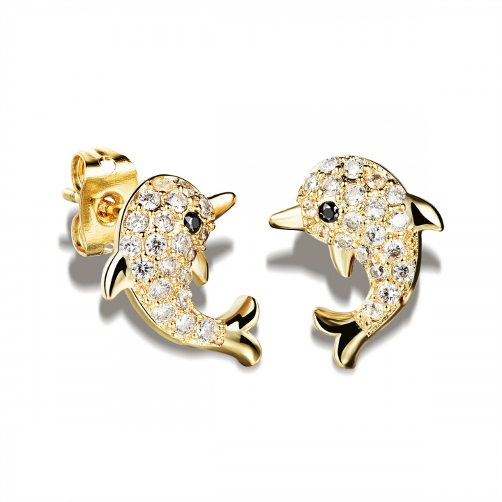 Dolphin Diamond Ms Earrings Plating 18K gold Micro inlay Little Earrings gold ms