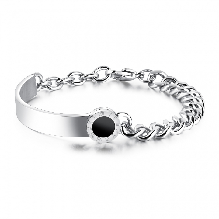 Titanium Steel Rome Digital Semi-circle Ring Body Personality Bracelet Ms Fashion Wristband silver one size