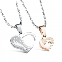 Couple Fashion Classic Love Pendant Creative Valentine's Day gift gold silver a pair