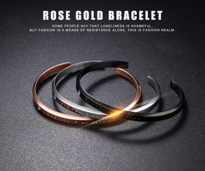 Western Style Fashion Simple Wristband  Titanium Steel Mosaic Diamond Couple Bracelet black men