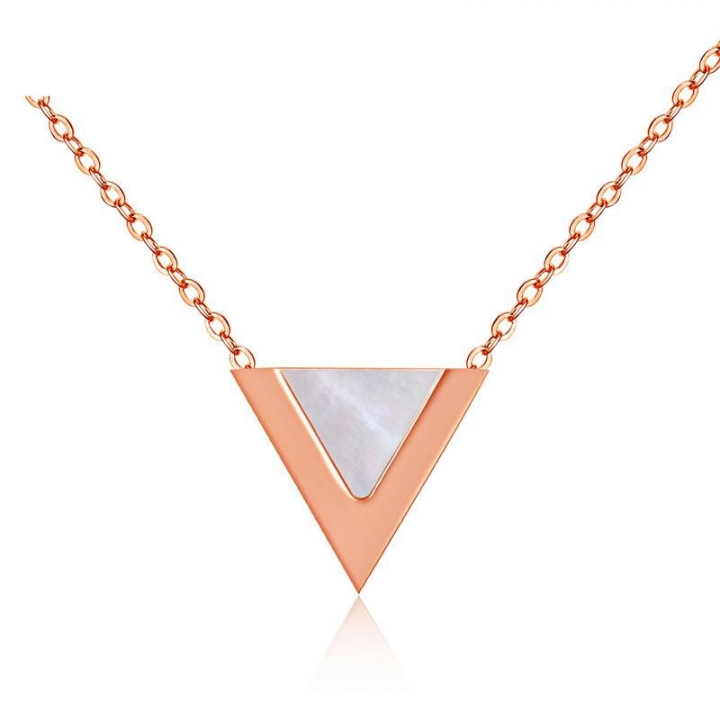 The New Fashion Temperament Triangle Necklace Titanium Steel Rose gold Female Models Clavicle chain white gold one size
