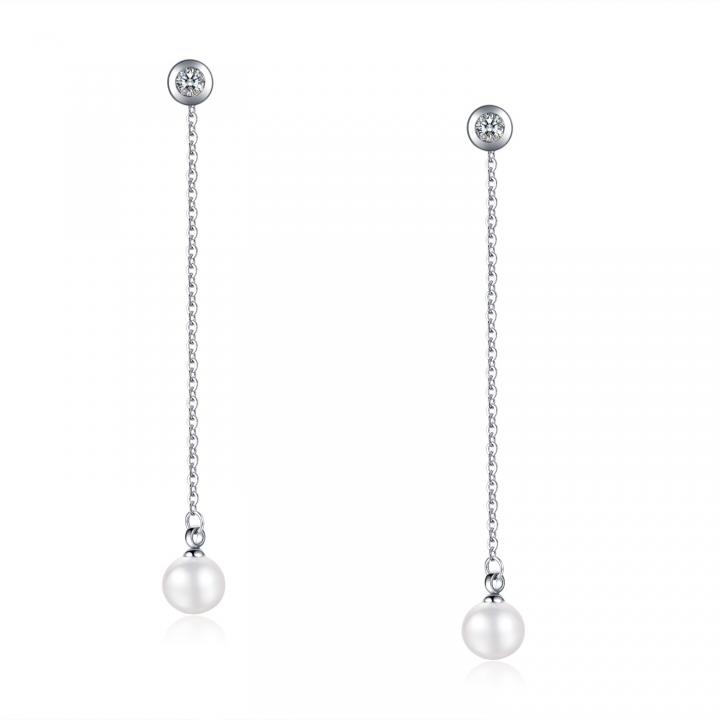 Simple Pearl Long Section Rose gold Tassel Earrings Titanium Steel Do not fade Earring silver ms