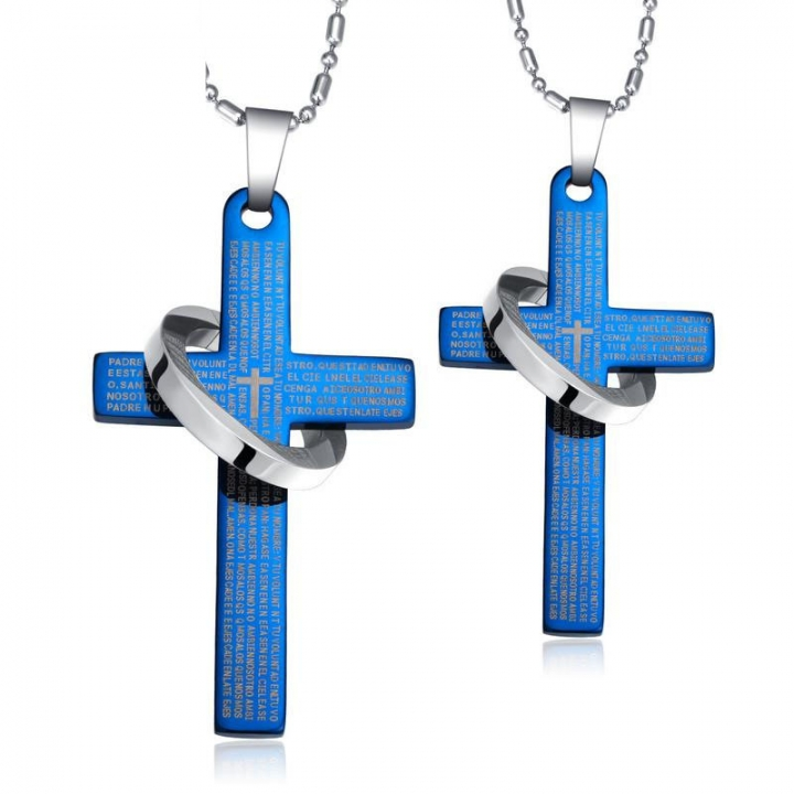 Classic Jesus Bible Lord's Prayer Cross Couple Pendant Necklace black ms