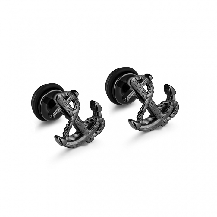 Western Style Retro Ship Anchored men and women Hipster Titanium Steel Earrings black one size