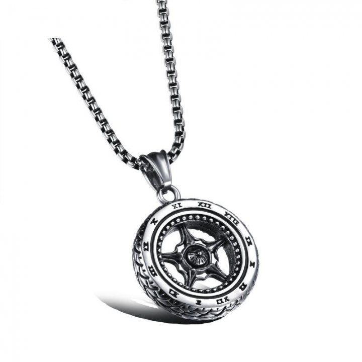 Domineering Romanian Tires Wheel Men Pendant Titanium Steel Personality Necklace black one size