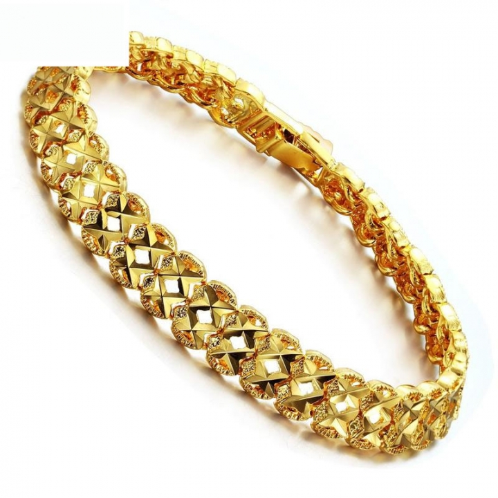 Fashion Leisure Plated 18K gold Personality Hollow Ms Bracelet gold one size