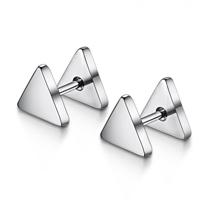 Simple Triangle Earrings Creative Spiral Earring Prevent Allergy Earring white and black Two pairs