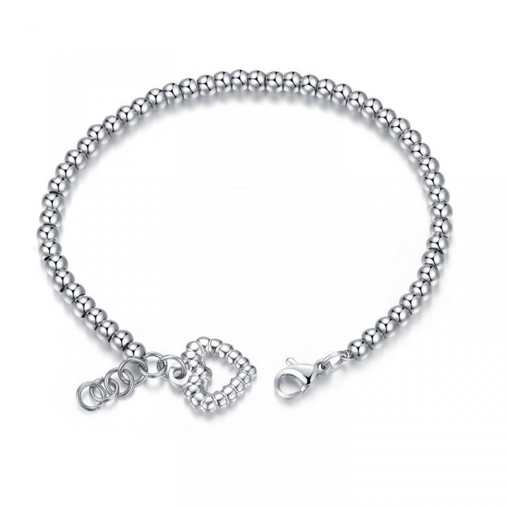 Fashion Round Beads Love Plating Rose Gold Bracelet Titanium Steel Temperament Bracelet silver one size