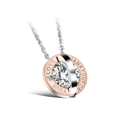 Creative Round Inlaid Diamonds Love Titanium Steel Couple Necklace Fine Jewelry gold ms one size