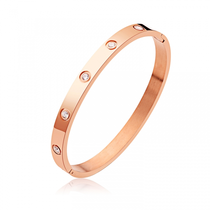 Valentine's Day Gift fashion Bracelet Stainless Steel Diamond Simple Couple Bracelet rose gold ms one size