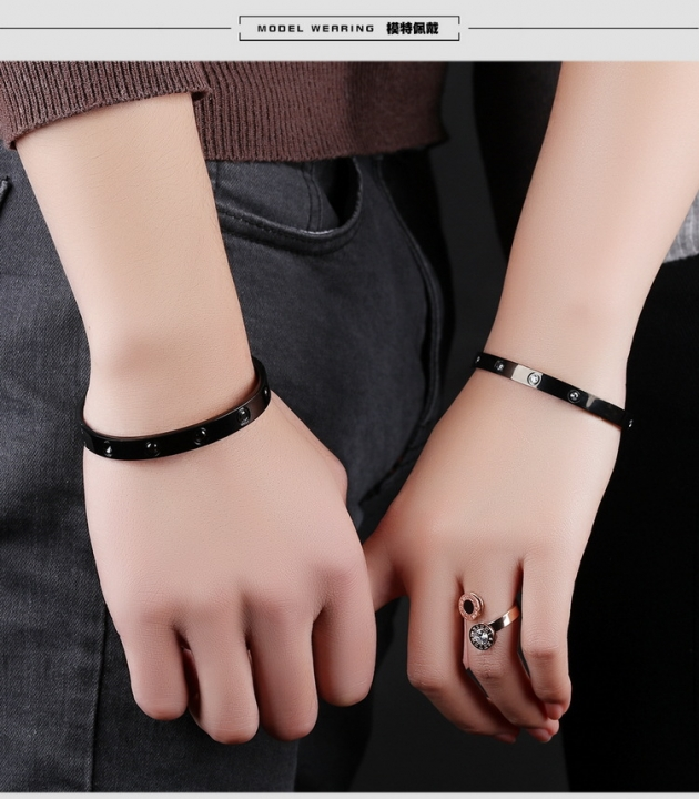 Valentine's Day Gift fashion Bracelet Stainless Steel Diamond Simple Couple Bracelet black ms one size