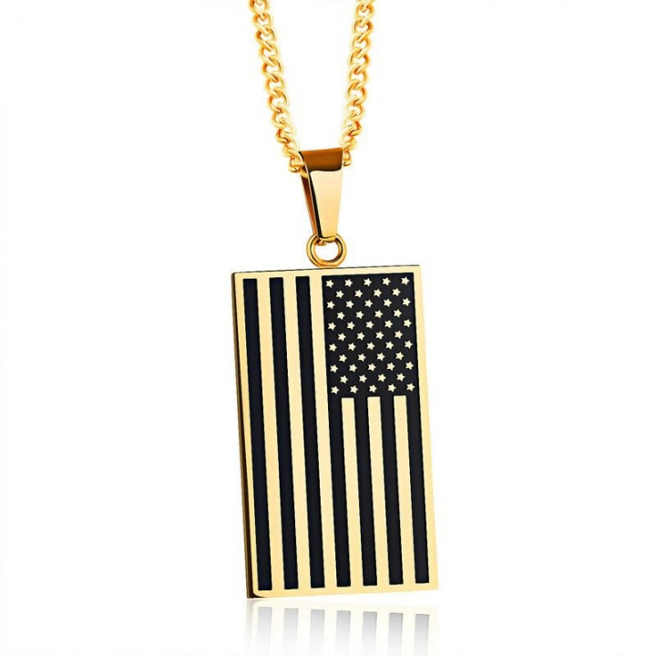 Creative Stainless Steel United States Flag Tag Men Personality Fashion Pendant gold one size