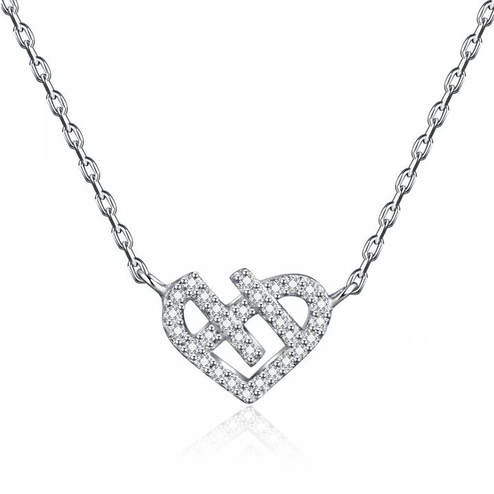 Wild Decoration Clavicle Chain Prevent Allergy Accessories Fashion Love Diamond Necklace silver one size