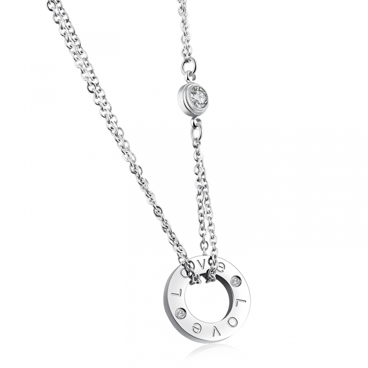 The New LOVE letters Circle Diamond necklace Ms Titanium steel Rose gold fashion clavicle necklace silver one size