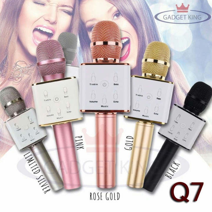 Mobile Phone Q7 Microphone K Song Bluetooth Microphone Wireless Anchor K Song Microphone rose gold 5w Q7