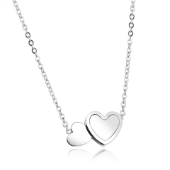 Fashion Double Love Stainless Steel Pendant Ms Plating Rose Gold Clavicle Necklace silver one size