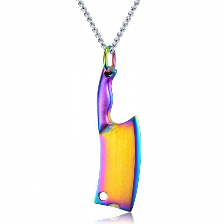 Creative Kitchen Knife Men Stainless Steel Necklace Colorful Glare Classic Pendant color one size