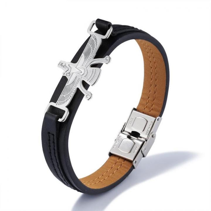 Fashion Men Leisure Bracelet Retro Trend Eagle Stainless Steel Cowhide Bracelet silver one size
