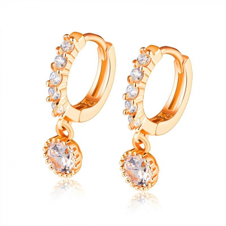 Copper Plating Rose gold Diamond Earring Ms Fashion Leisure Earring rose gold one size