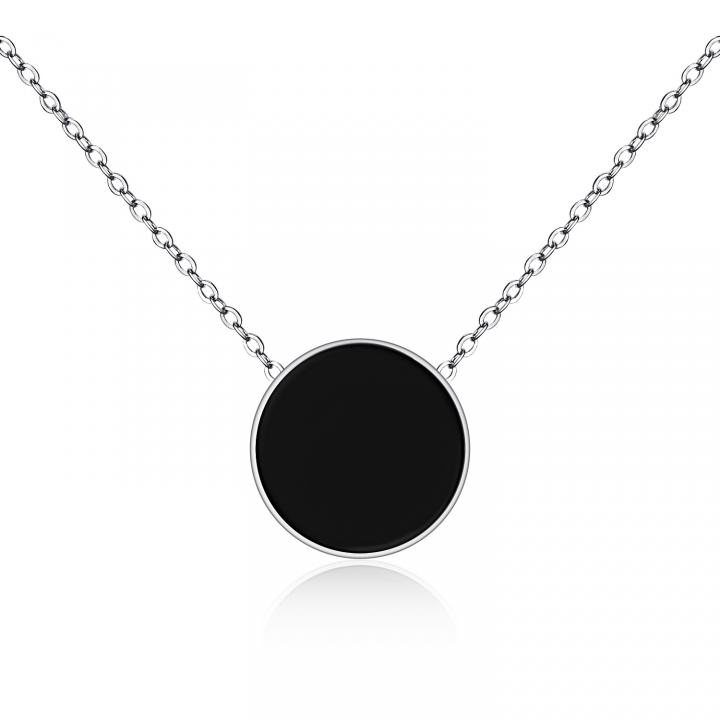 Simple Big Biscuits Black Stainless Steel Wild Pendant Ms Short Section Clavicle Necklace silver one size