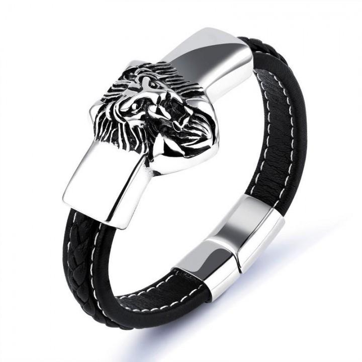 Western Style Stainless Steel Personality Lion Head Cowhide Bracelet Men Fashion Bracelet black one size