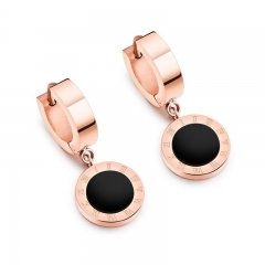 Black Rome Digital Simple Round Cake Earring Titanium Steel Fashion Rose gold Earrings gold ms
