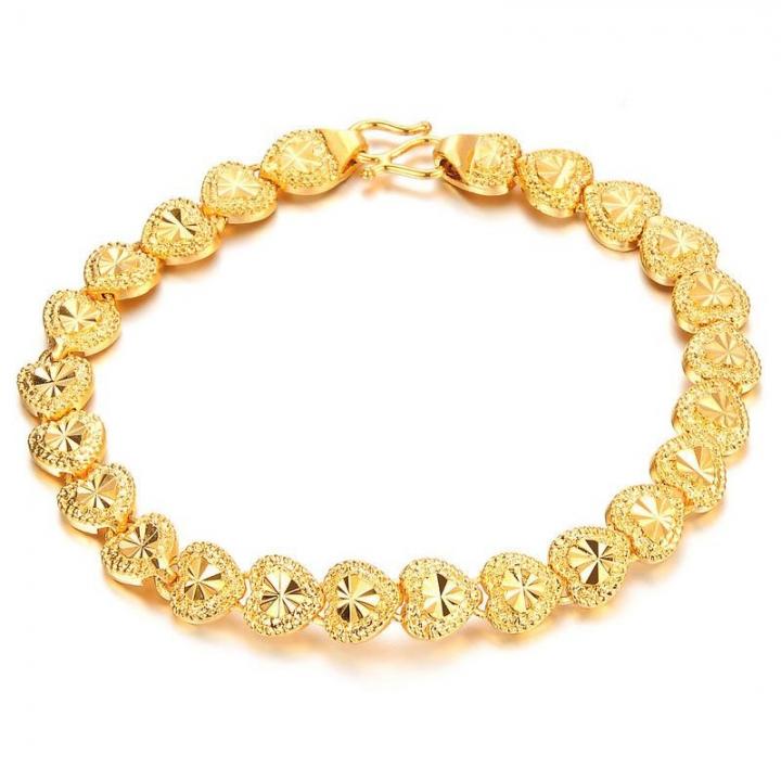 Western Style Fashion Retro fine Love Bracelet Creative Plated 18k Gold Bracelet gold one size
