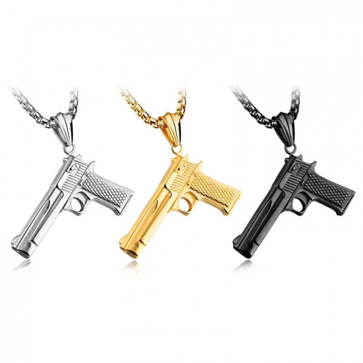 Fashion Western Style Titanium Steel Pistol Modeling Necklace Personality Hip hop Hip-hop Jewelry gold one size