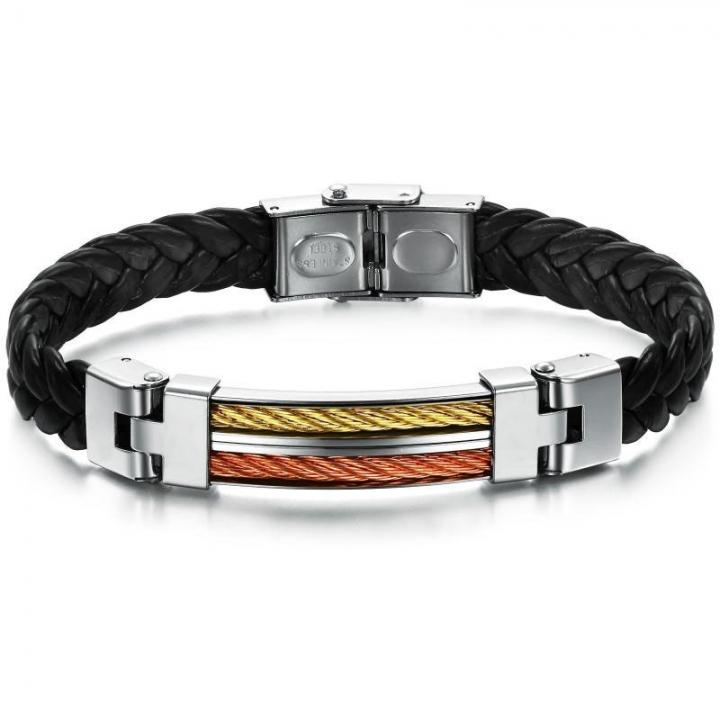 Western Style Personality Gift Bracelet Creative Stitching Fashion Men Leather Bracelet black one size