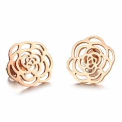 The New Ms Plated Rose gold Titanium Steel Fashion Camellia Earrings rose gold one size