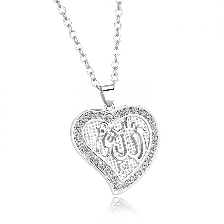 Islam Muslim Allah symbol Allah Necklace Copper plated 18K gold Heart-shaped Pendant silver one size