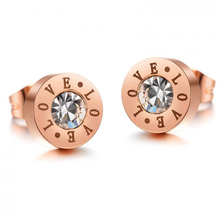 Personality Fashion Leisure LOVE Plated Rose Gold Titanium Steel Ms Earrings gold ms
