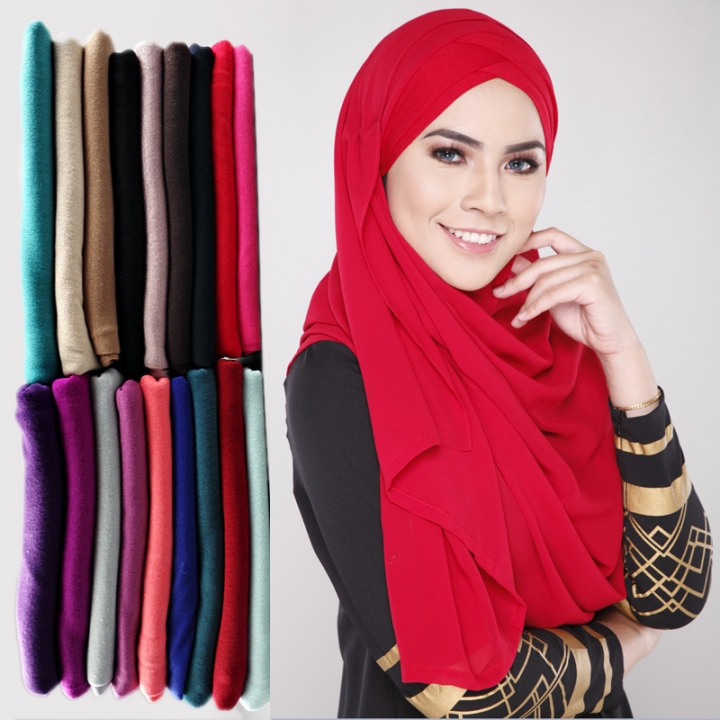 Muslim Jersey Monochrome Women Scarf Arab Women Jersey Hijab Accessories 13