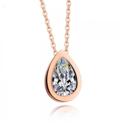 Fashion Exquisite Water Droplets Pendant Inlaid with Zircon Ms Plated rose gold Clavicle Chain rose gold one size