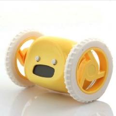 Creative Lazy Will Run Alarm Clock Escape Electronic Alarm Clock Mobile Wheel Gift Clock yellow