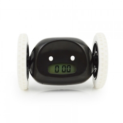 Creative Lazy Will Run Alarm Clock Escape Electronic Alarm Clock Mobile Wheel Gift Clock black