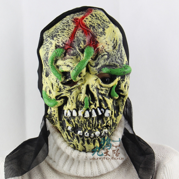 Snake Face Skeleton Halloween Prom Party Show Props Upscale Soft Horror Ghosts Mask grimace one size